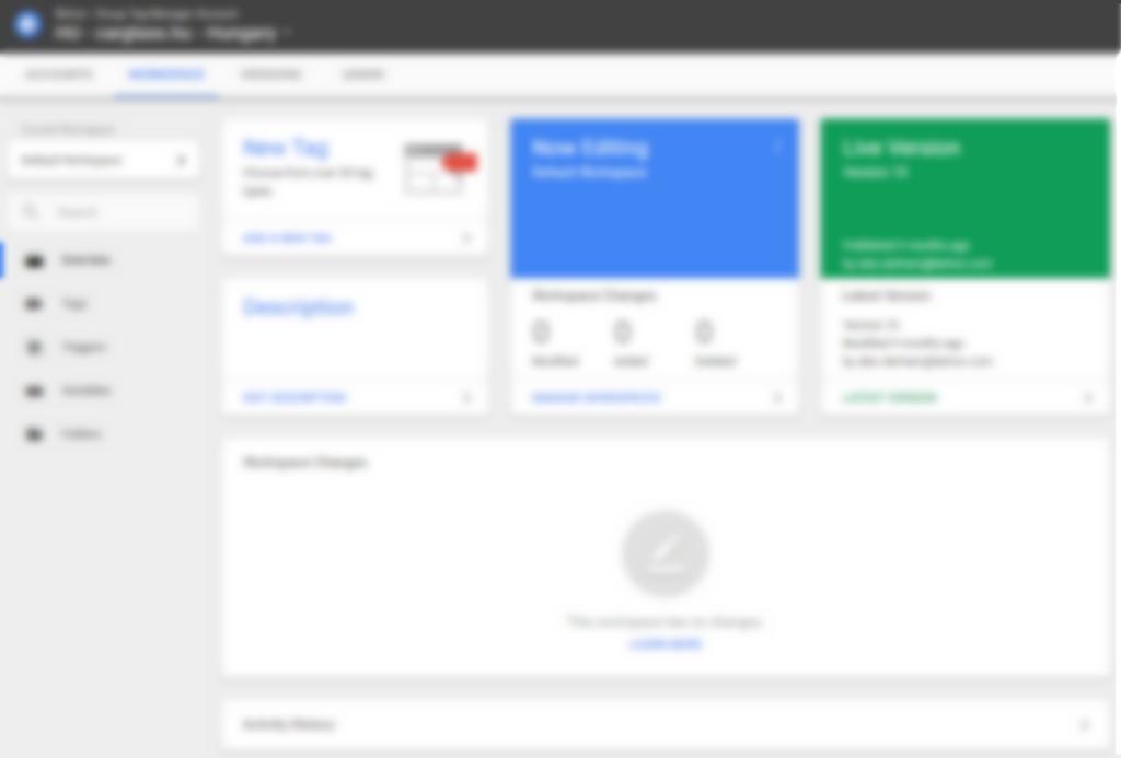 Google Tag Manager 360 képernyő